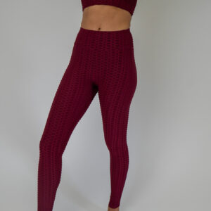 Burgundy 2 piece top and leggings honeycomb pattern